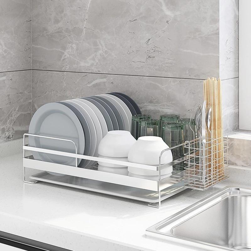 304 stainless steel dish drying rack kitchen organizer drain holder plate storage shelf sink drainer cutlery accessories tools