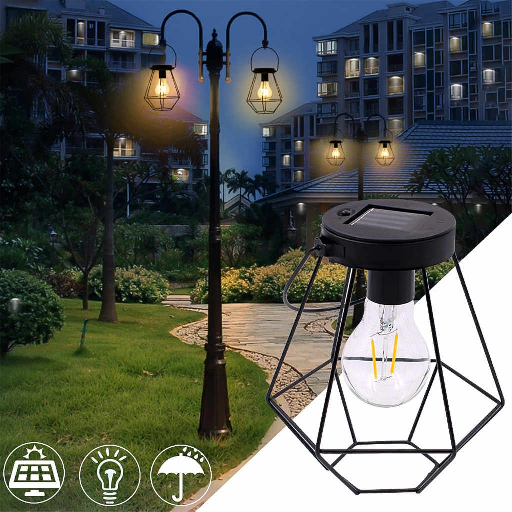 Solar Energy Power Hanging Outdoor Light Stainless Steel Garden Lamp Wrought Iron Lantern With Light Bulb Warm White Light 30 Outdoor Landscape Lighting Aliexpress