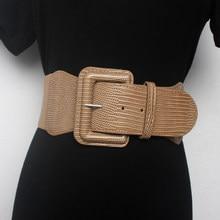 Feminino cintura larga capa de vedação decoração cinto elástico na moda e todo o inverno cáqui redondo preto cinto largo 7.5-7.8cm