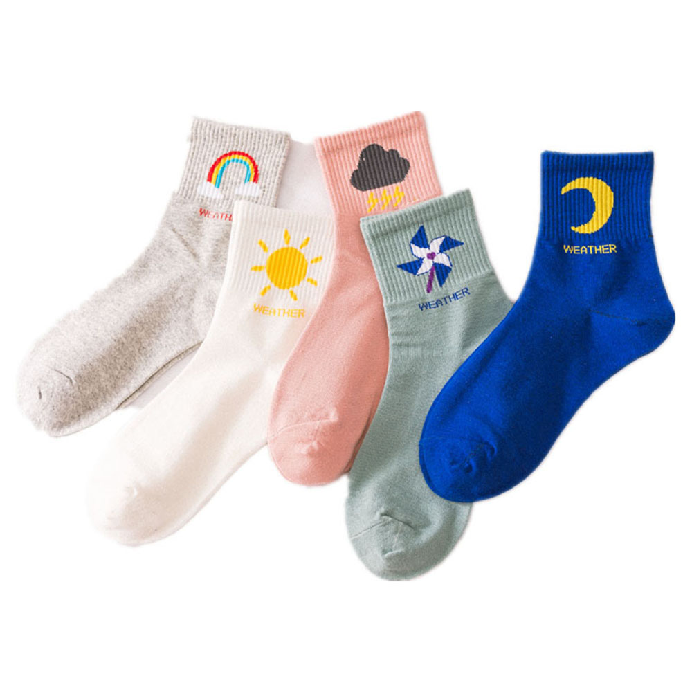 2019 Cotton Harajuku Socks New Korean Style Mid Tube Sun Moon Women Girls Funny Fashion Socks Windmill Rainbow Autumn Winter