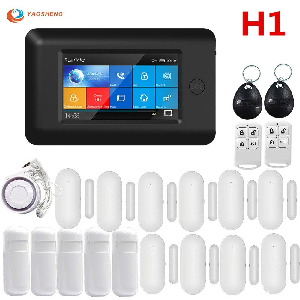 4.3 polegada tft painel de toque 433mhz wifi gsm sem fio do assaltante sistema alarme segurança em casa rfid cartão com detector gás