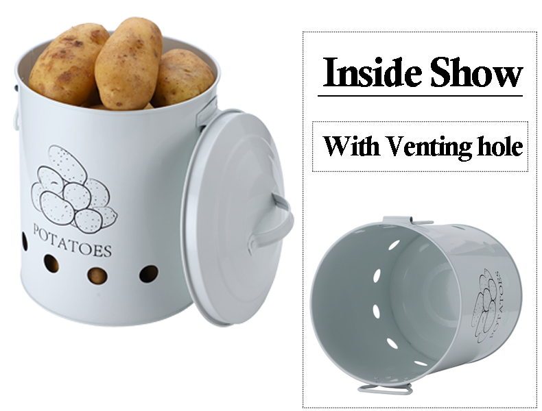 Breathable Kitchen Container Set and Food Storage Bins with 2 Handles for Storing Potatoes and Onions 16
