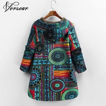 Versear Female Jacket Plush Coat Women Windbreaker Winter Warm Outwear Floral Print Hooded Pockets Vintage