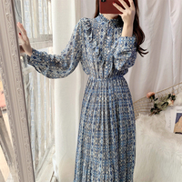 New female autumn outfit long sleeved chiffon dress sweet floral dress art wear pleated a render