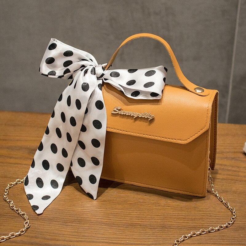 2020 New Style Shoulder Bag Spring And Summer Fashion WOMEN'S Bag Shoulder Bag Silk Scarf Decoration Square Sling Bag PU Leather