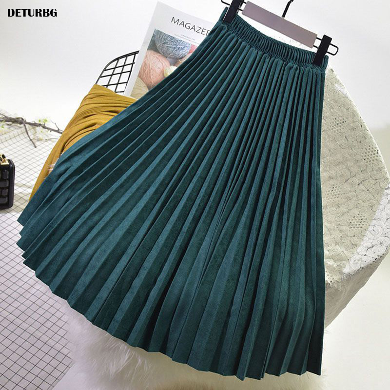 Womens Elegant Suede Pleated Midi Skirt Female High-Quality Elastic High Waist Thick Warm Skirts Saias 2019 Autumn Winter SK394