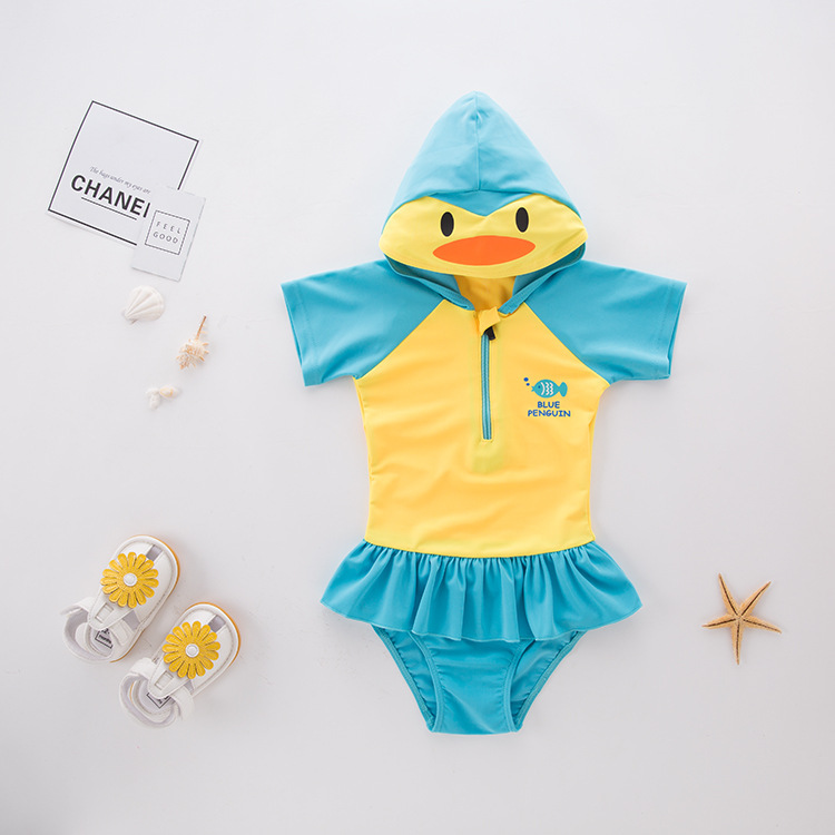 Short In Size Processing GIRL'S One-piece Swimming Suit Yellow Penguin Hooded-Children Hot Springs Bathing Suit
