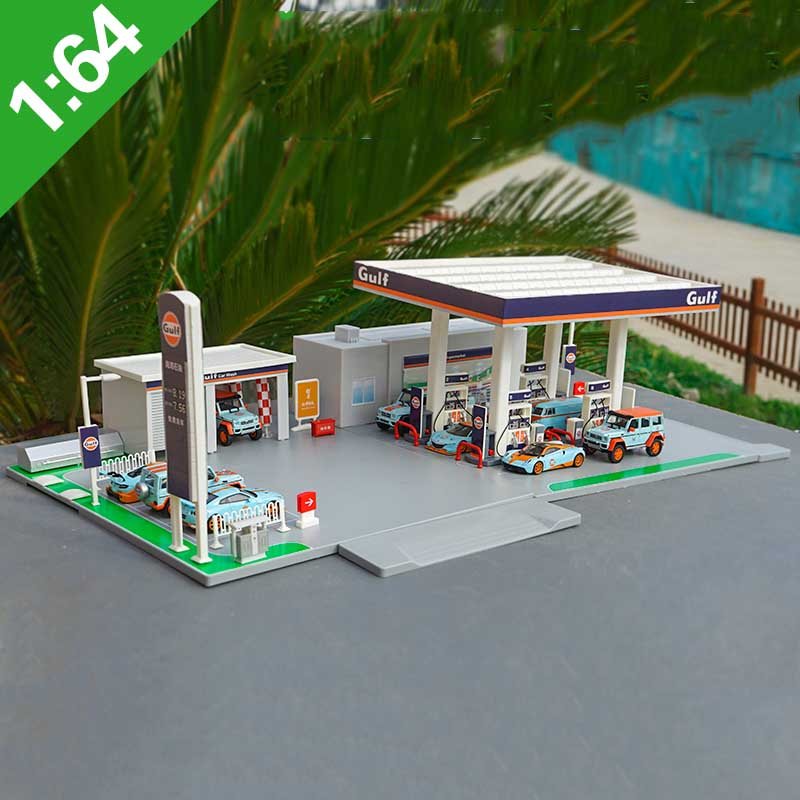 1/64 Scale Alloy Car Model Gulf Petrol Station Scene Simulation Model Toy Gift Accessories Set Station Decoration Display