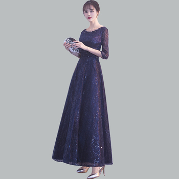 Navy Blue Evening Dress CR460 Shining Sequin Robe De Soiree O-Neck Half Sleeve Women Party Gowns Beading Formal Dresses 2020