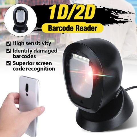 usb scanner de codigo de barras automatico handsfree 1d 2d scanner 360 graus rorating plataforma