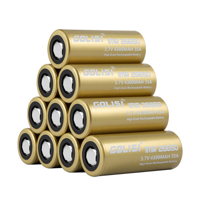 6PCS GOLISI S43 IMR26650 4300mah 35A Protected Rechargeable Plate Head High-drain 26650 Battery