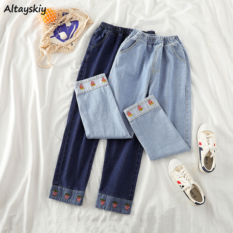 Jeans Women Kawaii Strawberry Embroidery Korean Fashion High Waist Trousers Womens Straight All Match Sweet Unique Casual Chic