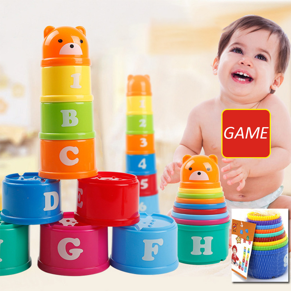 8PCS Folding Stack Cup Jenga Educational Baby Toys 6 Month+ Figures Letters Folding Stack Cup Tower Children Early Intelligence