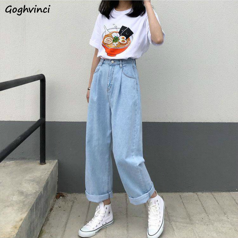 Jeans Women Ankle-length Denim Loose Plus Size 5XL Vintage Spring Straight Harajuku All-match Washed Students Casual Fashion New