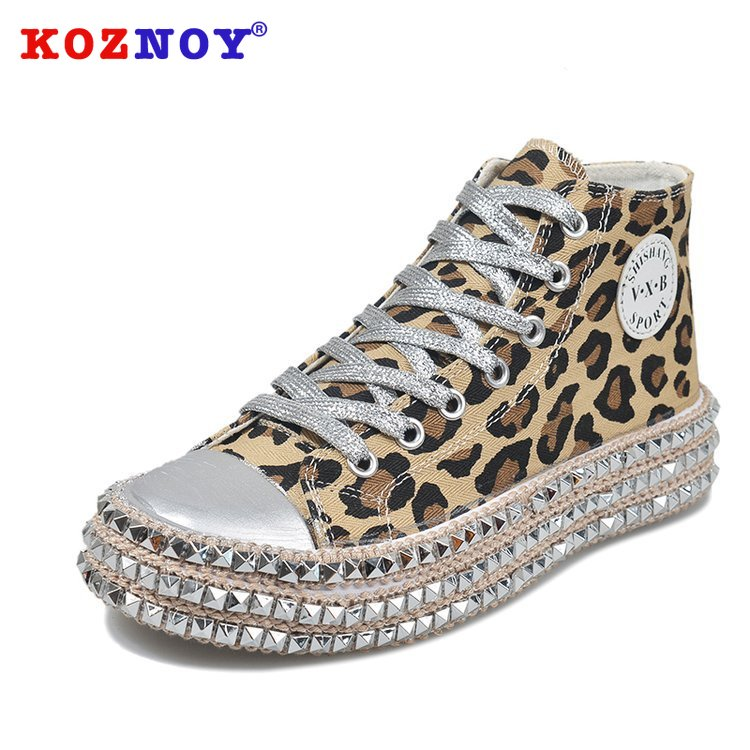 Koznoy Ins Leopard Sequined Canvas Shoes Women Spring Autumn Dropshipping Wipe Color Willow Nail Thick Bottom Casual