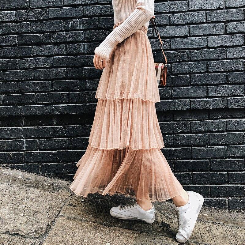2019 Spring Clothing New Style Korean-style Elastic Waist High-waisted Gauze Pleated Layers Cake Dress Half-length A- Line Long