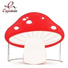 Sac à main en cuir Pu motif champignon rouge Fashion pour filles, sac à bandoulière avec chaîne, fourre tout, pochette pour femmes