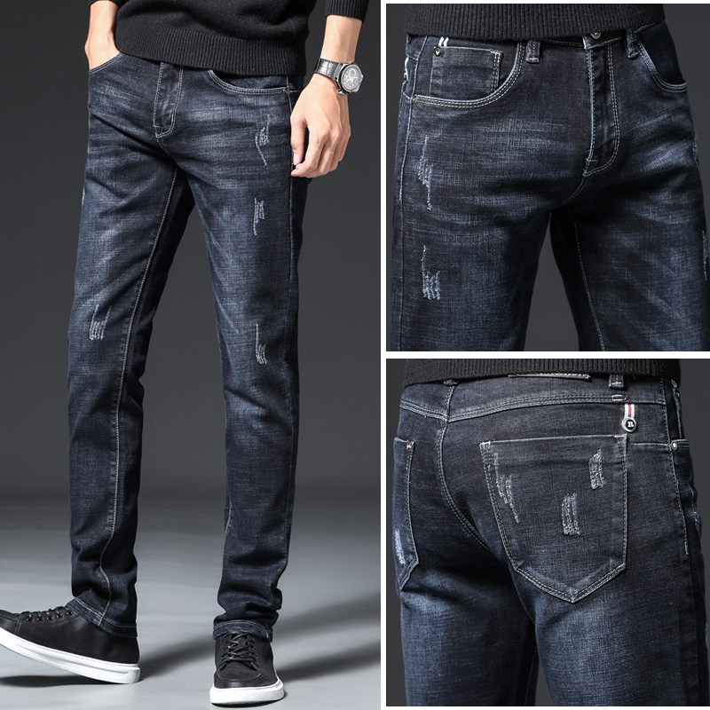 Ripped Male Jeans Skinny Denim Jean Homme Slim Fit Trousers Streetwear Men'S Pants Pant Casual Fashion Blue Stretch Winter Autum