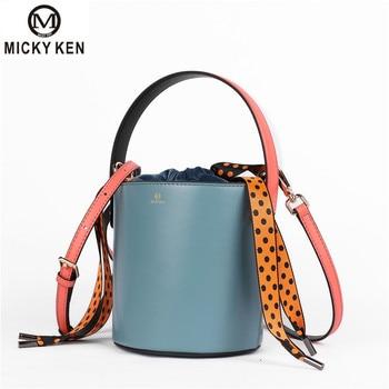 NEW Luxury Women Bucket Bag Mansur Womens Fashion Genuine Leather Shoulder Handbags Blue AND Brown Small Messenger Shoulder Bag