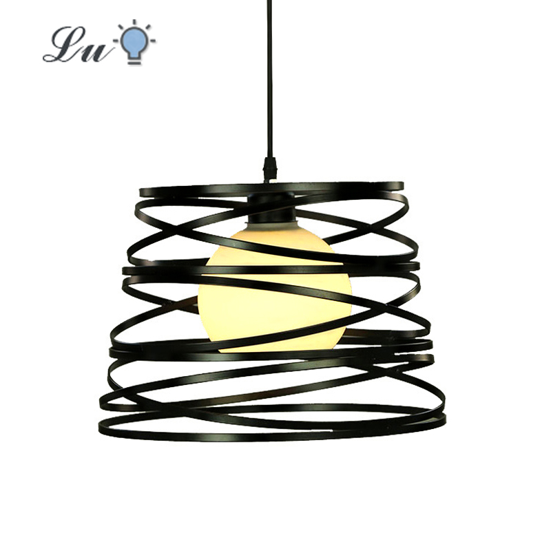 LED Pendant Lights Restaurant Single Head Iron Art Hanging Lamp  Kitchen Coffee House Lighting Fixtures Loft Forms Spiral Light