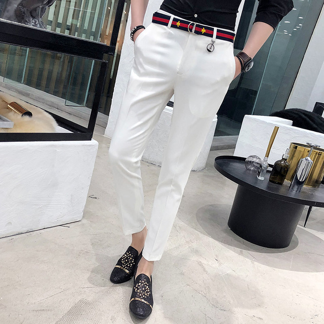 Mens Social Pants White Pants Mens British Style Trousers Mens Green Pants Office Dress Slim Fit Tight Red Social Club Pink 2020 3