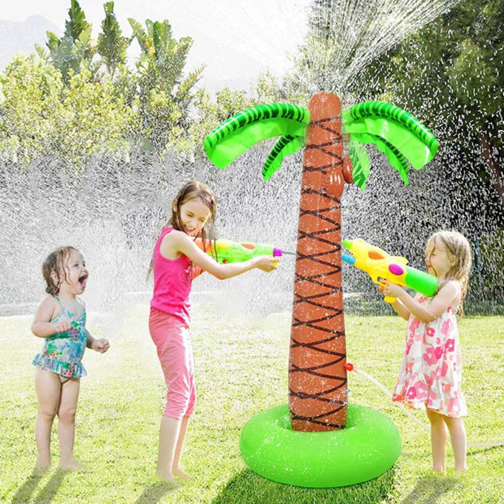 Inflatable Tropical Palm Tree Sprinkler Kids Outdoor Spray Water Playing Toy Kids Summer Play Fun Beach Bath Toys