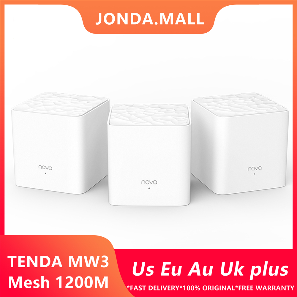 <font><b>Tenda</b></font> Nova Mw3 Wireless Wifi Router AC1200 Whole Home Dual Band 2.4Ghz/5.0Ghz Wifi Repeater Mesh WiFi System APP Remote Manage image