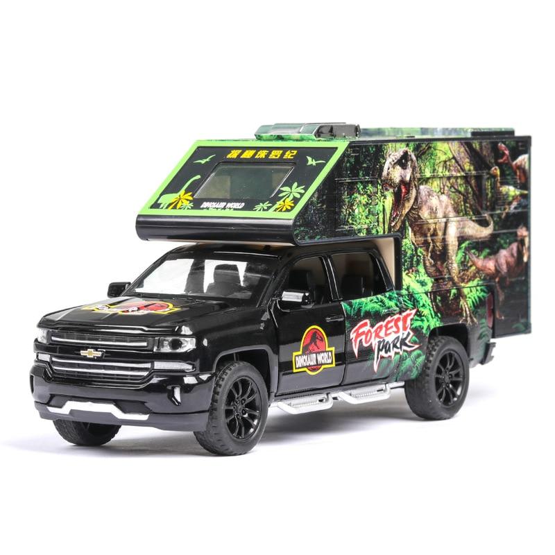 1:32 Dinosaur Car Model Jurassic Park Alloy Diecast Toy Flash Pull Back Kids Toys Christmas Birthday Gift For Boy