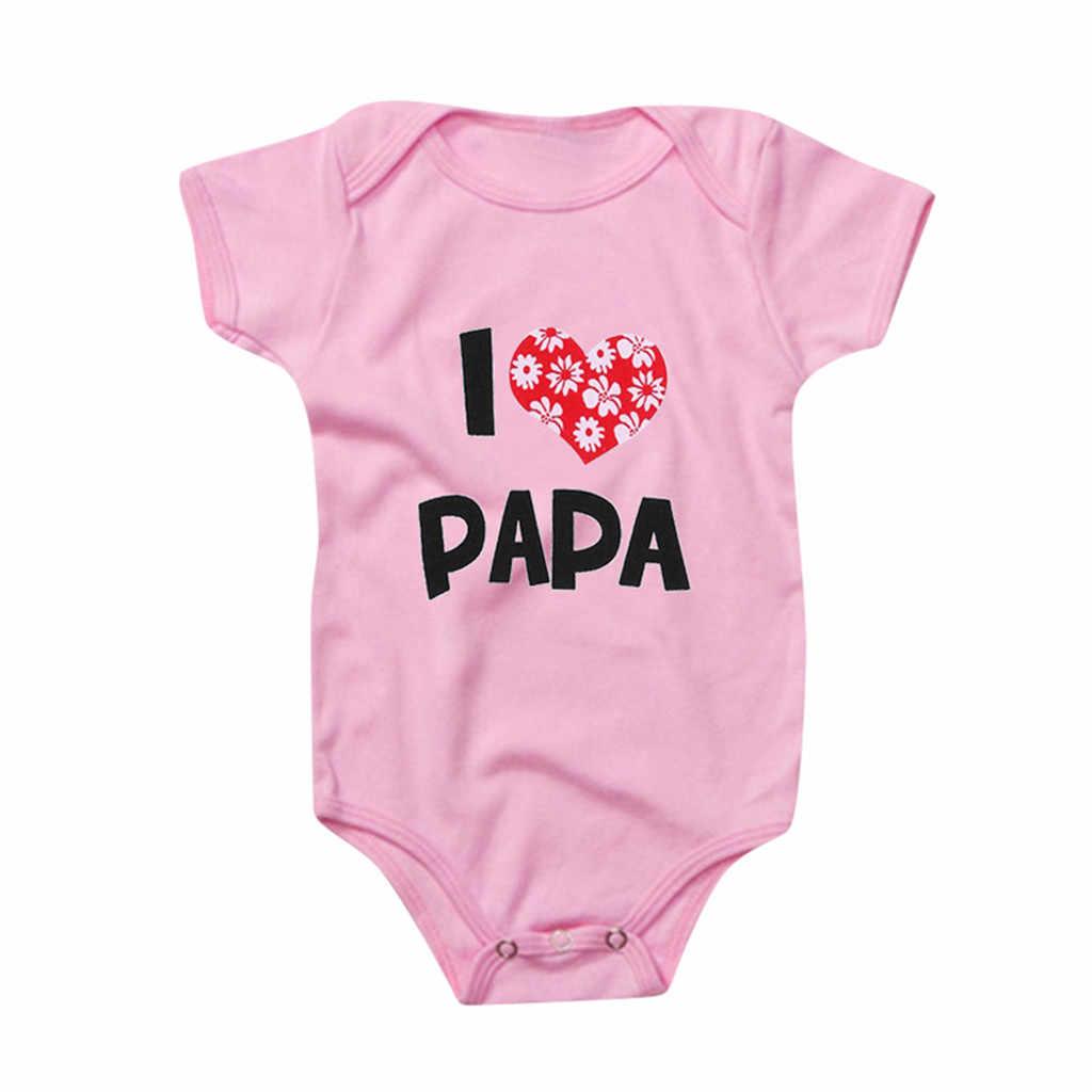 ทารกแรกเกิดทารกเด็กทารกหญิงเสื้อแขนสั้น I Love Papa Romper ฤดูร้อนสาวเสื้อผ้าเสื้อผ้าเด็กทารกใหม่