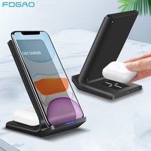 15W 2 In 1 Charging Dock StationสำหรับiPhone 11 XS XR X 8 Airpods Pro Dual Qi Fast wireless ChargerสำหรับSamsung S20 S10 S9