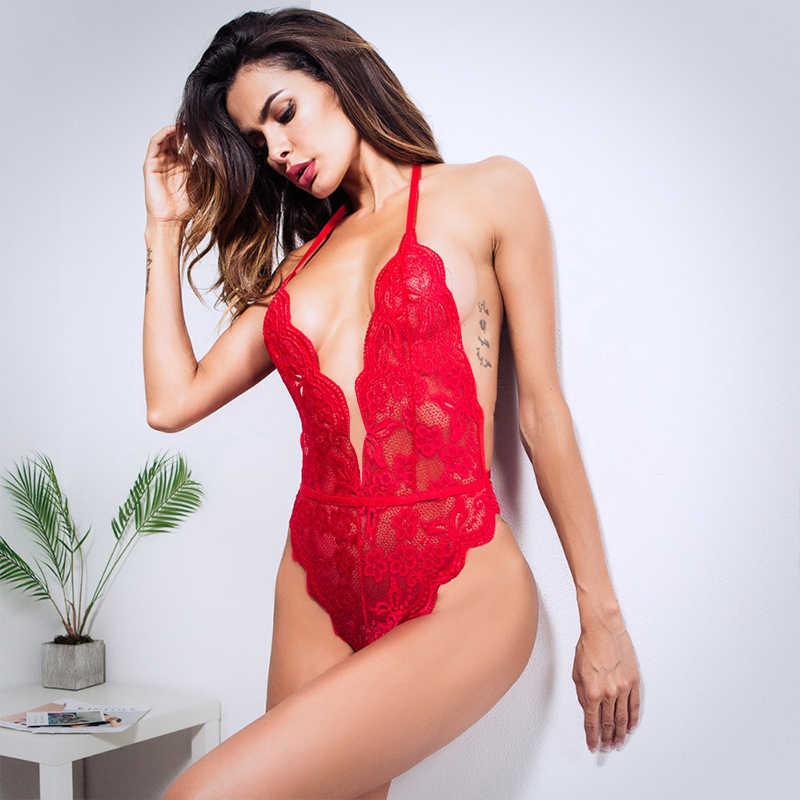Yaz 3 renkler artı boyutu iç çamaşırı setleri kadın dantel derin V sıcak erotik Halter açık sütyen seti seksi iç çamaşırı tek parça iç çamaşırı seti