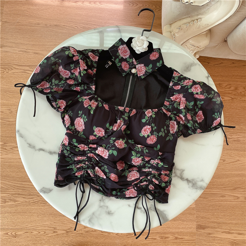 2020 Summer New Blouse for Womens Retro French Strap Waist Hugging Slimming Printed Chiffon Shirt Girls Short Blouses Blusas Top