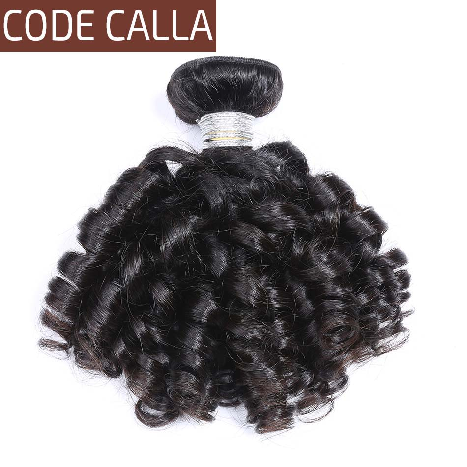 Brazilian Bouncy Curly Hair Weave Bundles CodeCalla Remy Human Hair Extensions Natural Black Color Curly Hair 1/3/4 Bundles Deal