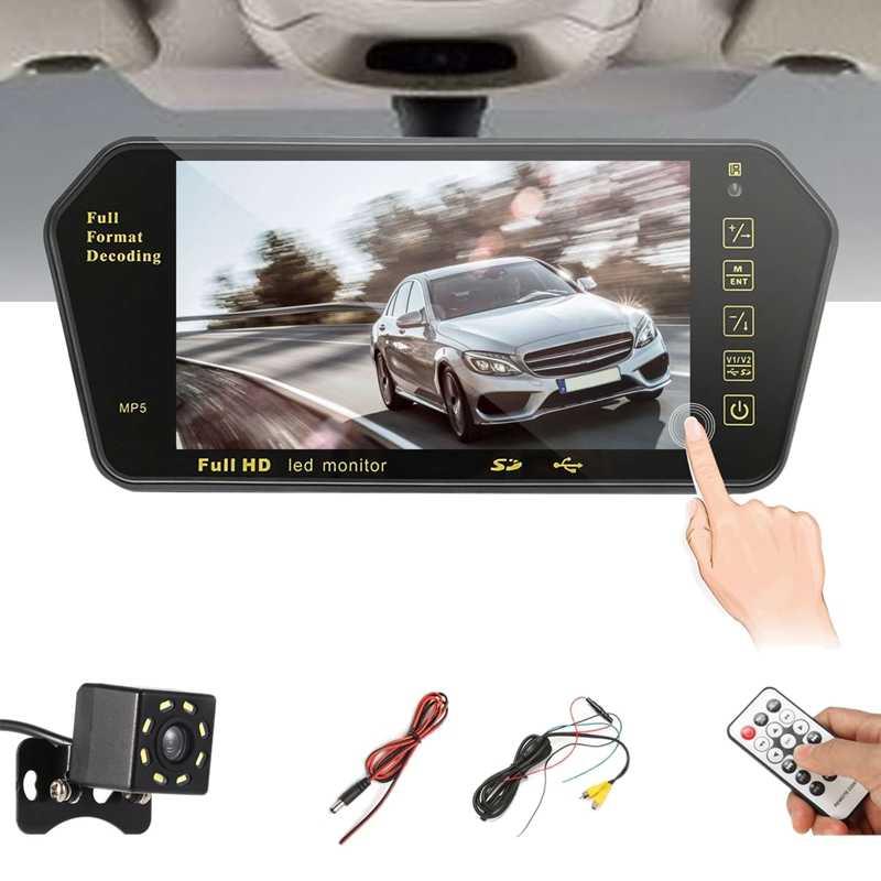7 дюймов автомобиля TFT lcd цветное зеркало MP5 плеер виедо стерео зеркало заднего вида монитор дисплей