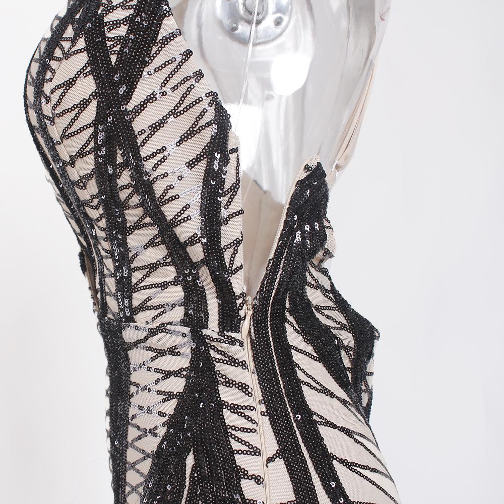 Sleeveless Deep V Neck Black Sequined Dress Backless Stretchy Long Mermaid Dress 11