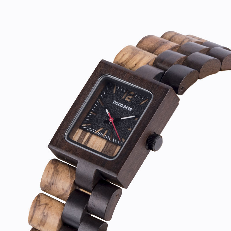 DODO DEER Unisex Watch Chronograph Wood Square Simple Watch Japanese Quartz Watch Male And Female C14-3