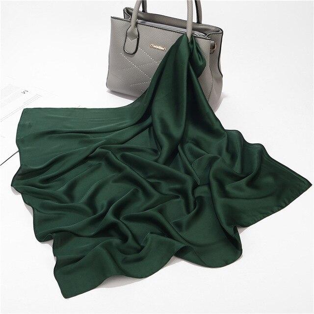Pañuelos de seda cuadrados pequeños de Color liso, pañuelos de satén para mujeres, pañoleta de negocios versátil Simple de 70*70cm