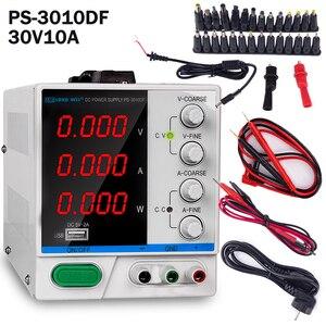 Fonte de Alimentação DC 30V 10A 4 Display LED Regulador de Comutação Ajustável PS-3010DF Laptop Retrabalho Reparação USB de Carregamento 110v -220 v
