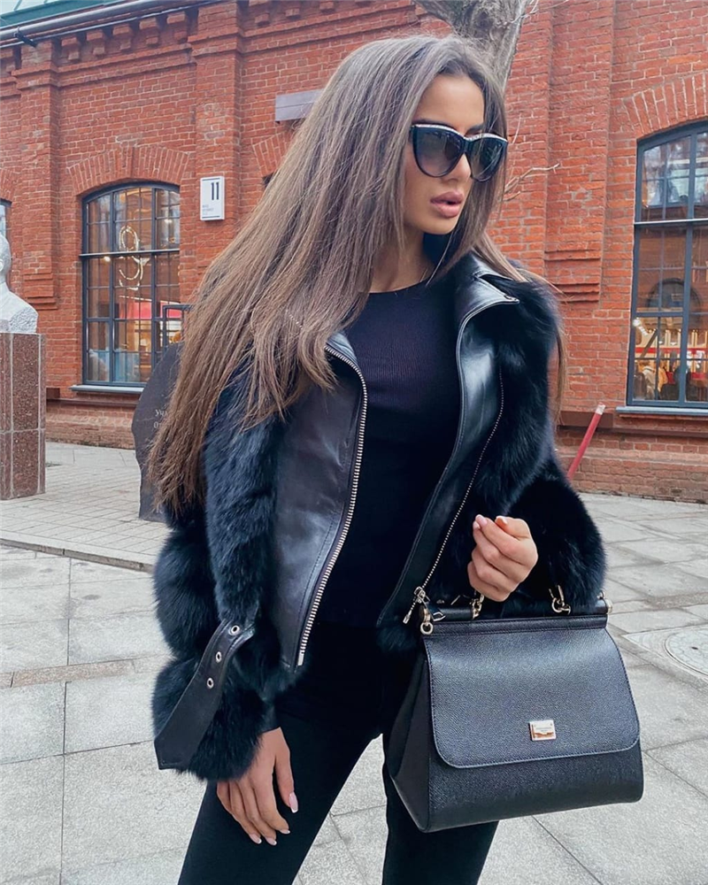 H777a041fecbb4f4c870a3e8c9b5beb19m Women Faux Fur Coat with Fox Fur Winter Fashion 2021 New Motocycle Style Luxury Fox Fur Leather Jackets Woman Trendy Overcoats