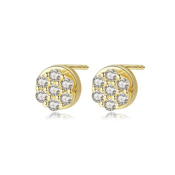 SANYU Lovely Real 14K Gold Small Cubic Zircon Gold Earrings for Women Girls Dating 14K Gold Stud Earrings Jewelry Accessories
