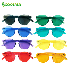 SOOLALA 2020 Rimless Sunglasses Women Men Fashion Transparen