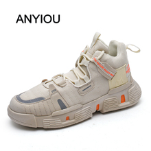 ANYIOU 2020 New Men Casual Shoes Lace-up Men Winter Shoes Women Fashion Clumsy Sneaker Casual Platform High Heels Father Shoes 2017 new high heeled shoes woman pumps wedding shoes platform fashion women shoes red high heels 11cm suede