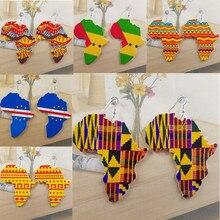 Винтаж в форме карты Дерево Печать Для женщин Подвесные серьги в виде капель, роскошные Африканские Этнические Модные украшения для Для женщин и девочек