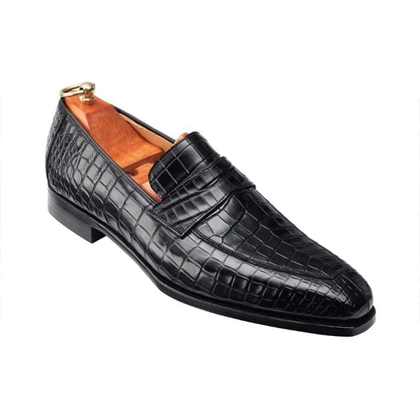 Men Crocodile PU Leather Shoes Low Heel Shoes Dress Shoes Brogue Shoes Spring Ankle Boots Vintage Classic Male F61