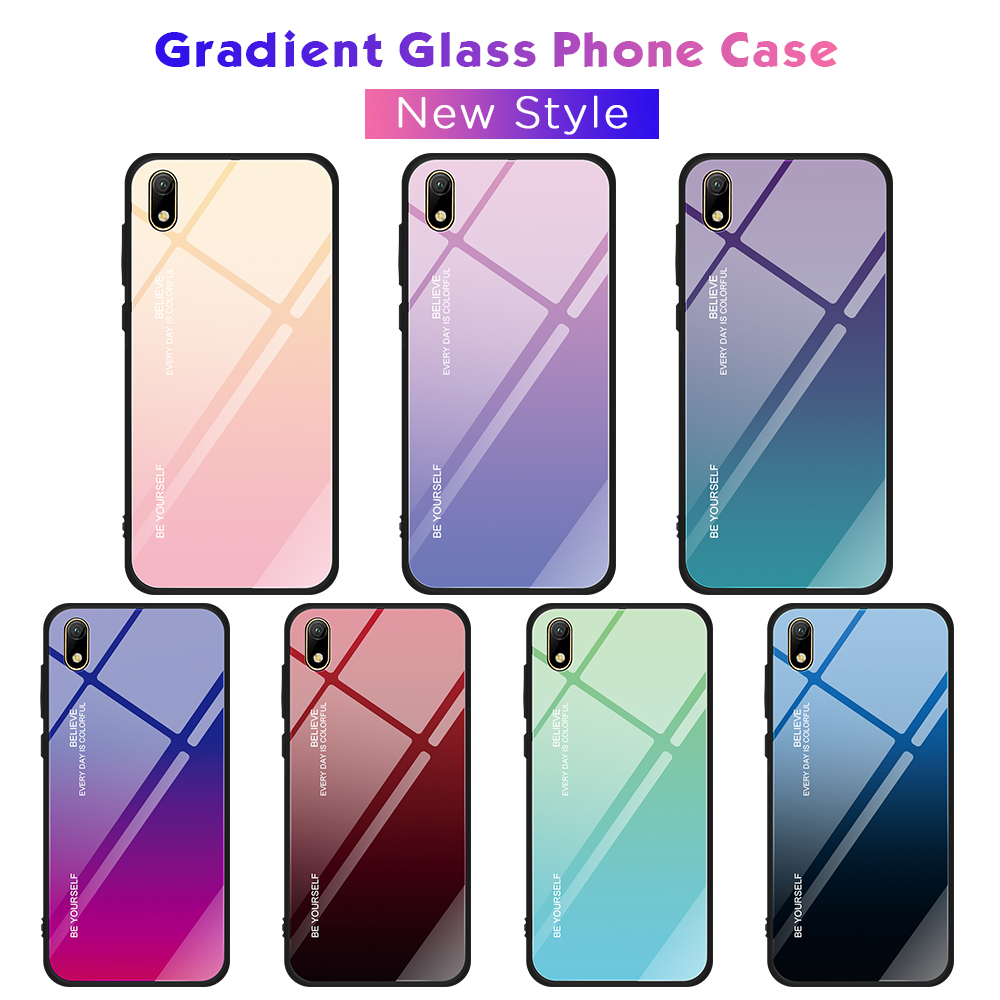 Gradient Glass <font><b>Funda</b></font> For <font><b>Huawei</b></font> Y5 <font><b>Y6</b></font> P Smart Pro Prime Plus <font><b>2019</b></font> Enjoy 9E 9S Hard Glossy Cover For <font><b>Huawei</b></font> Honor 10i 20i 8S image