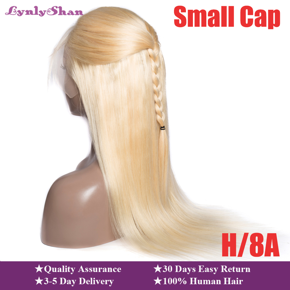 Lynlyshan Hair Blonde Wig Human Hair 613 Lace Front Wig Indian Straight Remy Hair Wig 150% Density 10-28 Inch Small Cap