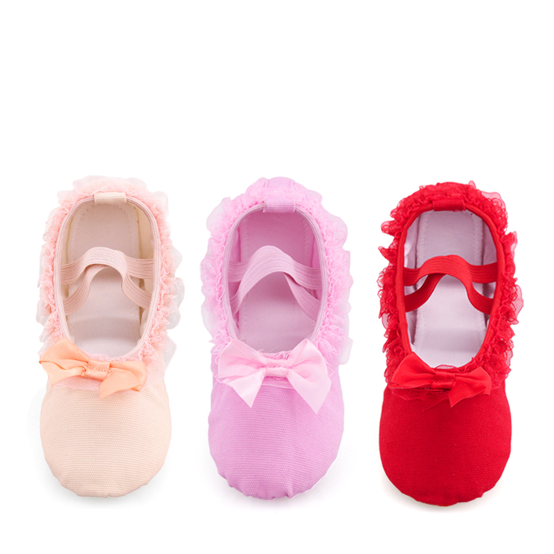 Girls Children Ballet Dance Shoes Women Lace Canvas Soft Sole Ballet Shoes