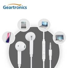 Geartronics 3.5mm Stereo Music Earphones in-ear Portable Earphone Wired In-Ear Headset White with Microphone seo8 abs aluminum alloy 3 5mm plug in ear stereo earphone golden silver grey
