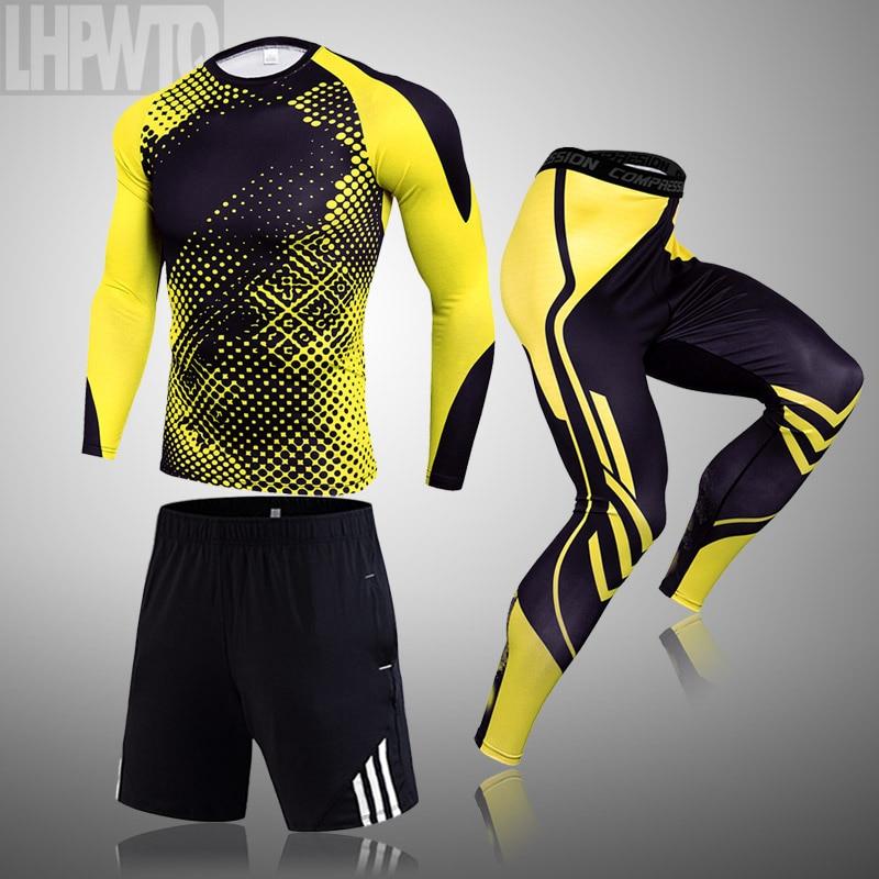 3 piece sets Compression Suits Men s Quick Dry set Clothes Sport Running MMA jogging Gym