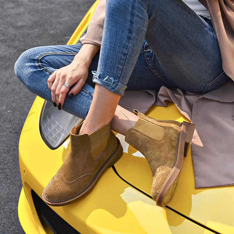 BeauToday Chelsea Çizmeler Kadın Domuz Süet Deri Wingtip Brogues Elastik Bant yarım çizmeler Deve Renk Bayan Ayakkabı El Yapımı 0401625
